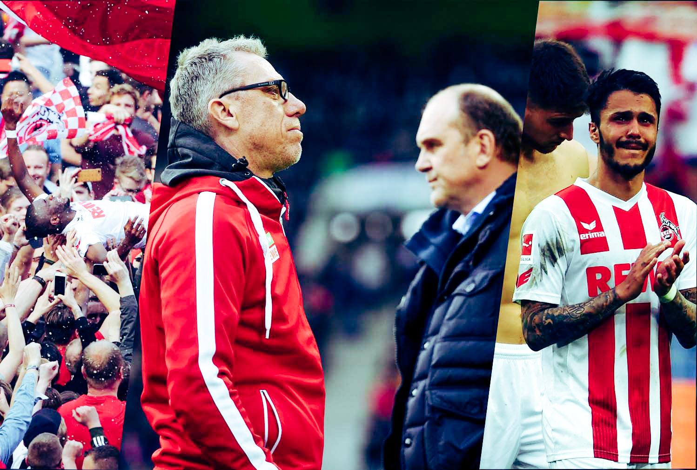 Der Saisonverlauf des 1. FC Köln in drei Bildern: Anthony Modeste (links), Peter Stöger und Jörg Schmadtke (Mitte), Leo Bittencourt (rechts)